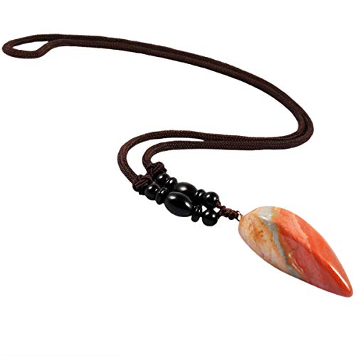 TUMBEELLUWA Stone Pendant Necklace Amulet Reiki Healing Crystal Point with Nylon Cord Handmade Jewelry for Women,Ocean Jasper