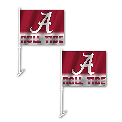 (NCAA Alabama Crimson Tide Ombre Car Flag (2 Pack), One Size, Red )