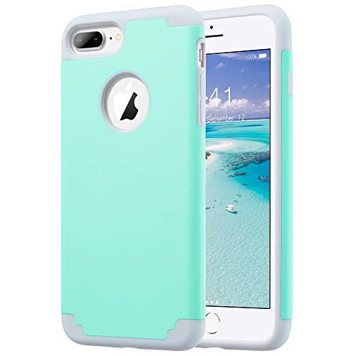 ULAK iPhone 7 Plus Case, iPhone 8 Plus Slim fit Dual-Layer Soft Silicone Bumper & Hard PC Shell Back Shock-Absorption & Skid-Proof Anti-Scratch Hybrid Case for iPhone 7 Plus/8 Plus, Mint Green
