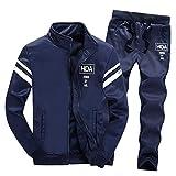 Winsummer Men's Athletic Full Zip Fleece Tracksuit Jogging Sweatsuit Activewear Sweatshirts Jacket and Pants Set