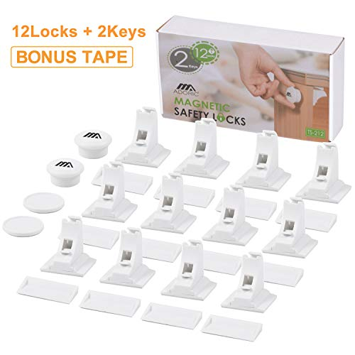 Magnetic Baby Proofing Safety Locks, 12 Locks with 2 Keys, 3M ADHESIVE for Cabinet Drawer Baby Safety Cabinet Locks, No Drilling or Screws Needed, White