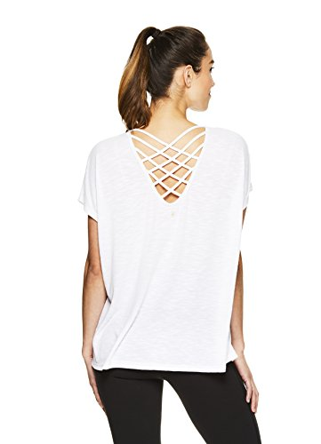 Sleeve Training Short Top (Gaiam Women's Open Back Yoga T Shirt - Relaxed Fit Short Sleeve Workout & Training Top - Bright White, 1X)