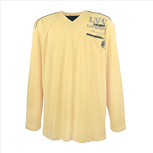 3858 Übergröße! V-Neck Lang Arm Shirt Herren Gelb 3-7XL LAVECCHIA