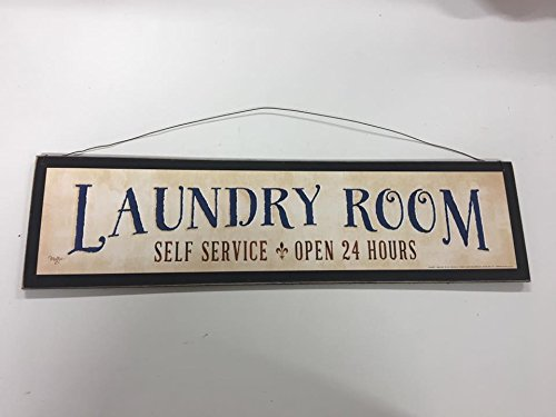 Laundry Room Self Service Open 24 Hours Country Wooden Wall Art Sign