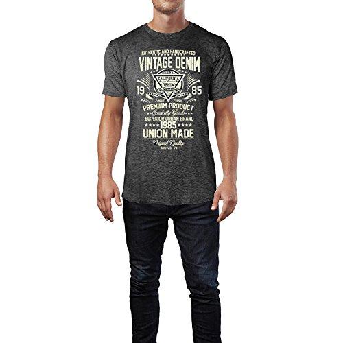 Sinus Art ® Herren T Shirt Vintage Denim 1985 ( Heather_Dark_Grey ) Crewneck Tee with Frontartwork