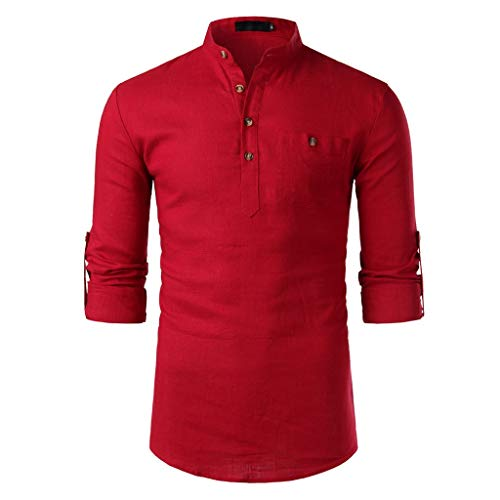 (Men Tops Casual Cotton Linen Slim Long Sleeve Stand Collar Shirt Business Blouse Red)