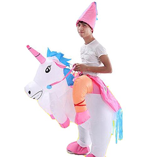 Adult Inflatable Unicorn Costume Horse Rider Halloween Suit Outfit Fancy Dress -