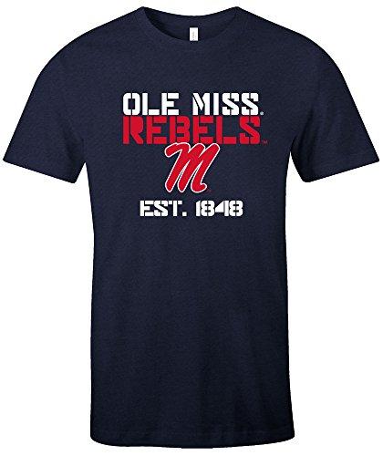 NCAA Mississippi Old Miss Rebels Est Stack Jersey Short Sleeve T-Shirt, Navy,X-Large