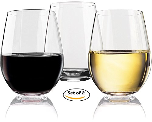 Vivocci Unbreakable Elegant Plastic Stemless Wine Glasses 20 oz | 100% Tritan Heavy Base | Shatterproof Glassware | Ideal For Cocktails & Scotch | Perfect For Homes & Bars | Dishwasher Safe | Set of 2 (Mug Travel Take Two)