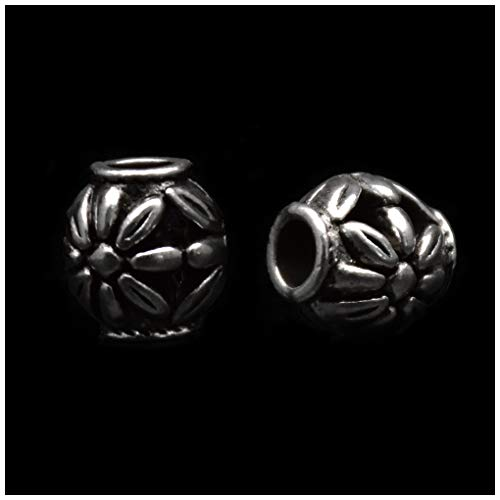 Pack of 50 Connected Flowers Antique Silver Plated Spacer Loose Beads Charms for Pandora Bracelet DIY Jewelry Making