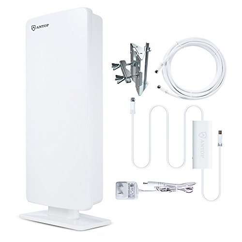 Hdtv Digital Flat Panel (ANTOP Flat Panel Outdoor/Indoor Digital TV Antenna with Smartpass Amplified and Built-in 4G LTE Filter-80 Miles Long Range Multi-Directional Reception - 40ft Detachable Coaxial Cable)