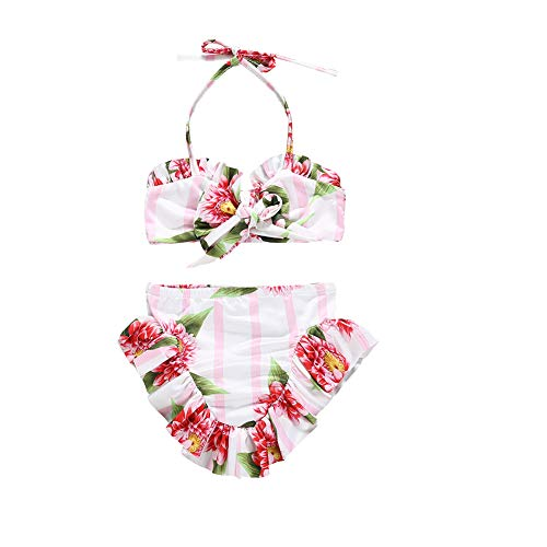 Kids Girls Bikini Set Summer Flower Print Bow Halter Tube Top+Ruffle Shorts Pants Beach Wear Swimsuit (Pink, 1-2T) ()