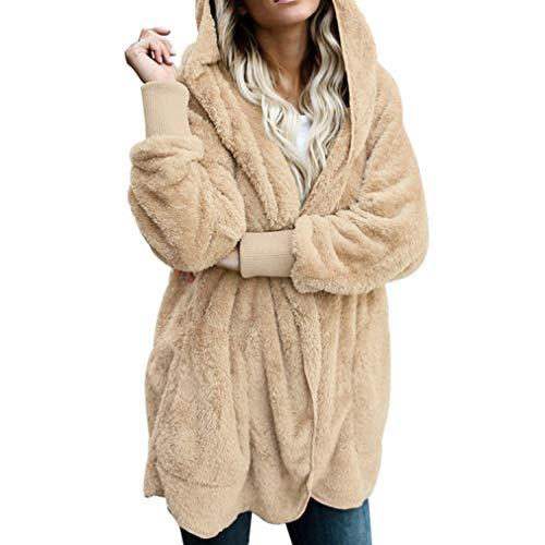 Coat Fashion Beige Juleya Long Sleeve Female Fur Teddy Bear Open Women Faux Jacket Stitch Hooded Fuzzy Coat Jacket 011qwxIF