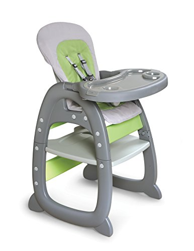 Badger Basket Envee II Baby High Chair with Play Table Conversion, Gray/Green