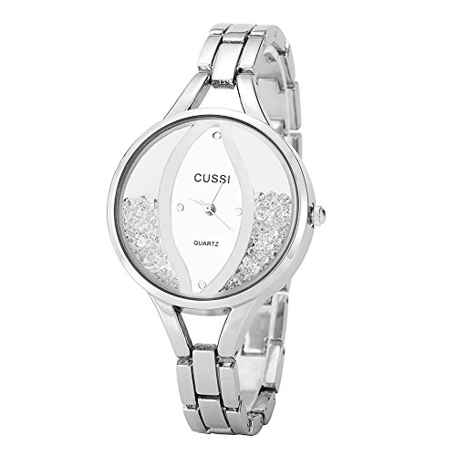 Ladies Angel Eye Bracelet Dress Crystal Wrist Watch for Women - Female Silver ()