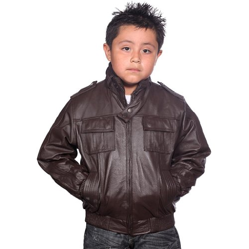 Amazon.com: Wilda Boys Leather Bomber Jacket: Outerwear Jackets ...