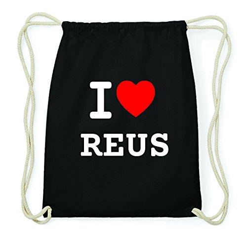 JOllify REUS Hipster Turnbeutel Tasche Rucksack aus Baumwolle - Farbe: schwarz Design: I love- Ich liebe