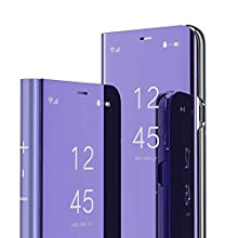 Samsung Galaxy Note 9 Case Cover EMAXELER Stylish Mirror Plating Flip Full Body Protective Reflection Ultra Thin Hard Anti-Scratch Shockproof Frame for Samsung Note 9 Mirror:Purple