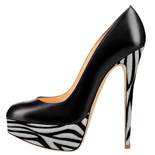 - AOOAR Women's Two-Toned Platform Spike Stilettos Black PU&Zebra-Stripe Pumps 14 M US