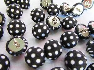 (50pcs Fabric Polka Dot Sewing Button with Shank (Sb74-Black) US SELLER SHIP FAST)