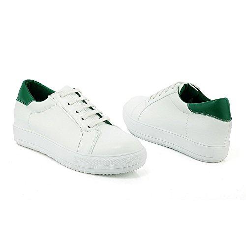 AllhqFashion Damen Rund Zehe Mittler Absatz Blend-Materialien Gemischte Farbe Schnüren Pumps Schuhe Grün