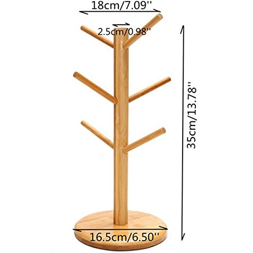 Strong Wood Mug Rack Holder Tree Coffee Cup Storage Stand Kitchen Organization by Agordo (Image #4)