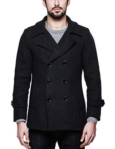 Match Mens Wool Blend Classic Pea Coat Winter Coats(010, Gray Medium) ()