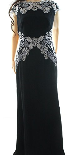 Tadashi Shoji Silver Embroidered Lace Women's Gown Dress Black 4