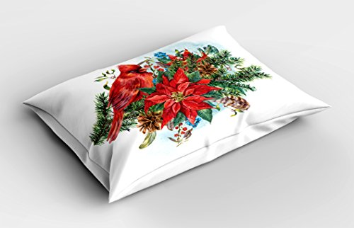"Lunarable Cardinal Pillow Sham, Christmas Themed Bird on Floral Bouquet Poinsettia Pinecones and Berries, Decorative Standard Size Printed Pillowcase, 26"" X 20"", Ruby White"