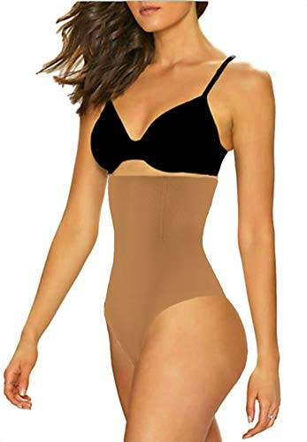 ShaperQueen 102 Best Womens Waist Cincher Body Shaper Trimmer Trainer Slimmer Girdle Faja Bodysuit Short Diet Tummy Belly Control Brief Corset Plus Size Underwear Shapewear Thong (XL, Tan (Light))