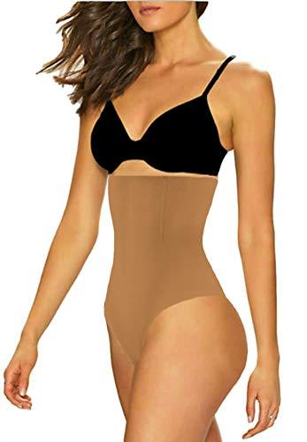 ShaperQueen 102 Best Womens Waist Cincher Body Shaper Trimmer Trainer Slimmer Girdle Faja Bodysuit Short Diet Tummy Belly Control Brief Corset Plus Size Underwear Shapewear Thong (XS, Tan (Light))