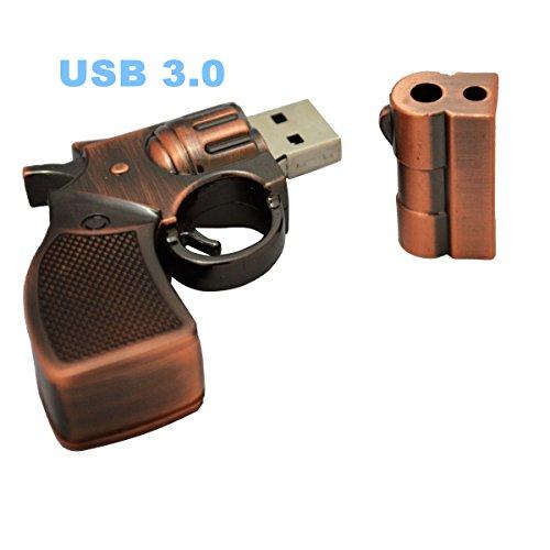 (WooTeck 16GB Metal Revolver Pistol Gun Shape USB 3.0 Flash Drive Pen Drive Memory Stick Copper)