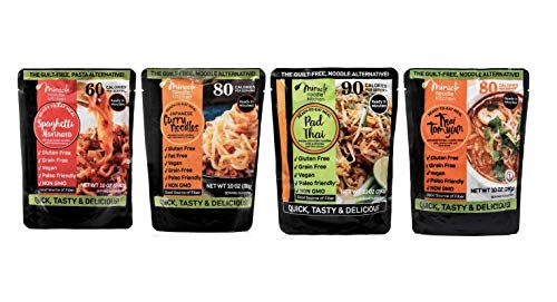 Miracle Noodle Ready to Eat Meals Variety Pack, 10 oz (Pack of 4), Pad Thai, Japanese Curry, Vegan Spaghetti Marinara, Thai Thom Yum, Shirataki Noodles, Pasta Alternative, Gluten Free, Paleo Friendly