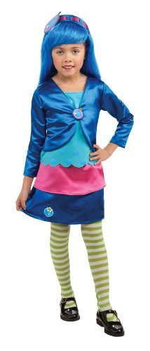 Rubies Strawberry Shortcake and Friends Deluxe Blueberry Muffin Costume, Small - Deluxe Strawberry Shortcake Wig For Women