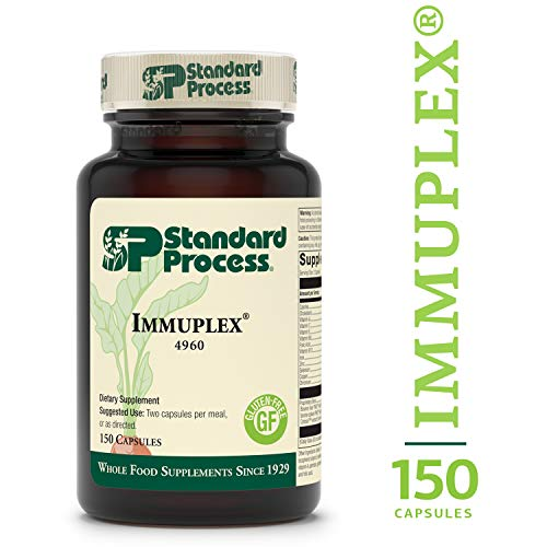 Standard Process - Immuplex - Immune System Function Support Supplement, Provides Vitamin A, C, E, B6, B12, Folic Acid, Iron, Zinc, Selenium, Copper, Chromium, Gluten Free - 150 Capsules