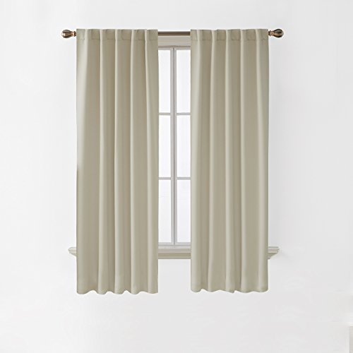 Deconovo Room Darkening Curtains Back Tab and Rod Pocket Thermal Insulated Blackout Curtains for Bedroom 38x72 Inch Light Beige 2 Panels