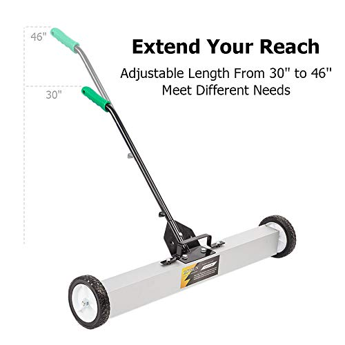 ROVSUN 24-Inch Rolling Magnetic Pick-Up Sweeper | 30-LBS Capacity, with Quick Release Latch & Adjustable Long Handle, for Nails Needles Screws Collection by ROVSUN (Image #4)