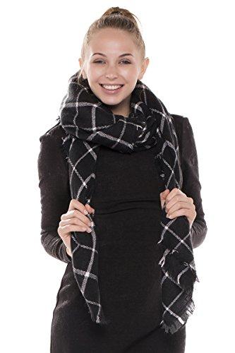 BYOS Women Winter Versatile Chic Tartan Plaid Oversized Blanket Scarf Wrap Shawl (Windowpane Check Black)