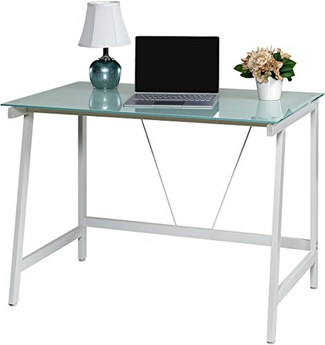OneSpace Contemporary Glass Writing Desk, Steel Frame, White and Cool Blue - Modern and contemporary fusion design both matches and enhances any décor Makes the best use of small spaces with the working efficiency of much larger desks Ample working surface constructed of durable frosted tempered safety glass - writing-desks, living-room-furniture, living-room - 41 KertNlpL -