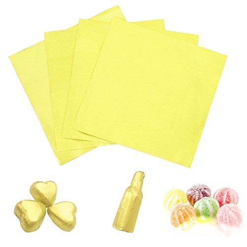 Chocolate Paper Wrapping (Candy Chocolate Wrapping Aluminium Foil Paper Best for Wrapping Candies/Chocolate Balls/Gift Size 4x4/ 100PCS Sugar Wraps Paper by Party/Wedding/Birthday/Chrismas Accessories (Gold, 100))