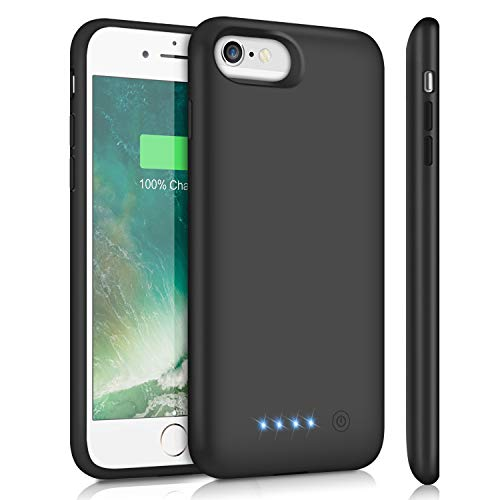 Battery Case for iPhone 6S 6,Upgraded HETP 6000mAh Rechargeable Charging Case for iPhone 6 External Battery Pack for iPhone 6S Charger Cover Apple Portable Power Bank [4.7 inch]- Black