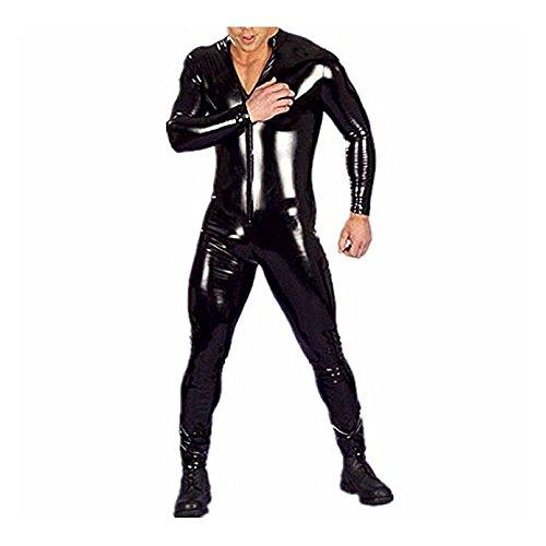 [해외]YiZYiF 남자의 섹시한 젖은 모양의 PVC 가죽 긴 소매 고양이 용품 바디 슈트/YiZYiF Men`s Sexy Wet Look PVC Leather Long Sleeves Catsuit Bodysuits