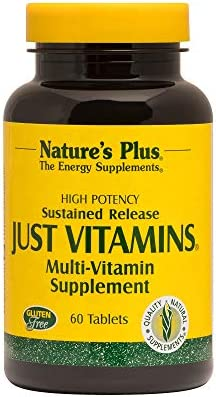 NaturesPlus Just Vitamins, Sustained Release – 60 Vegetarian Tablets – High Potency Multivitamin Supplement – No Minerals, General Health Support, Energy Boost – 60 Servings