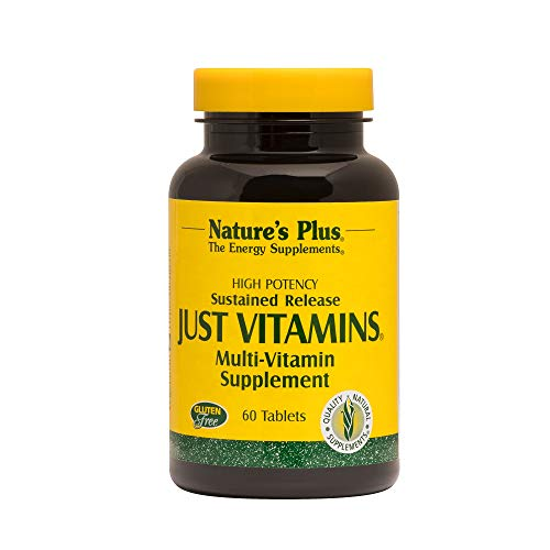 - Natures Plus Just Vitamins - 60 Vegetarian Tablets, Sustained Release - High Potency Multivitamin Supplement, No Minerals, General Health Support, Energy Boost - 60 Servings
