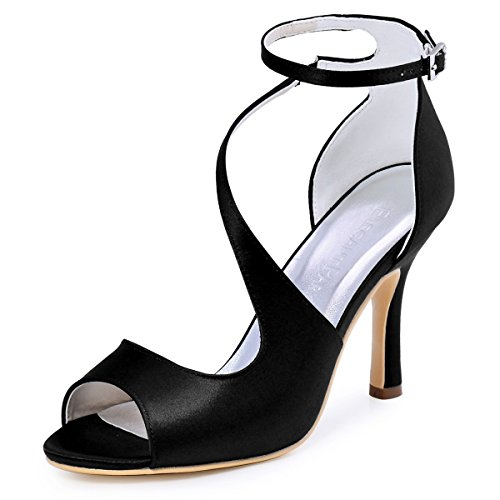 ElegantPark HP1565 Women's Peep Toe High Heels Ankle Strap Buckle Satin Wedding Evening Dress Sandals Black US 7