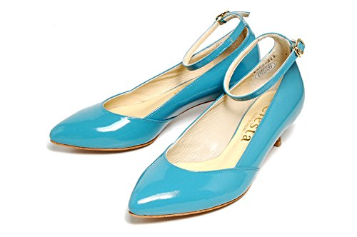 Ciesta Womens Sangle Bout Pointu Pompes [183-5302-m] {cuir} [25-26 Jp (7.5-8.5 Us Femmes)] Bleu