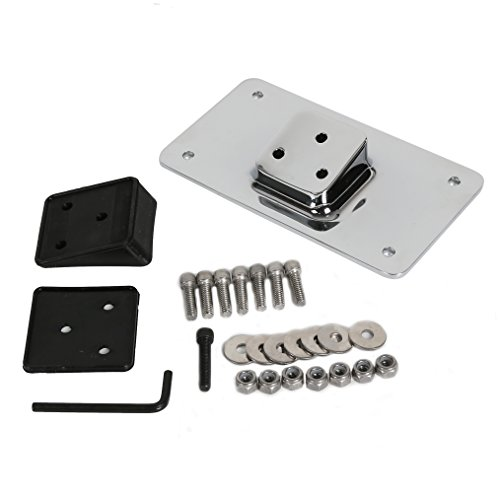 (7BLACKSMITHS Chrome Laydown License Plate Mount Bracket for Harley Davidson Sportster Dyna Softail)