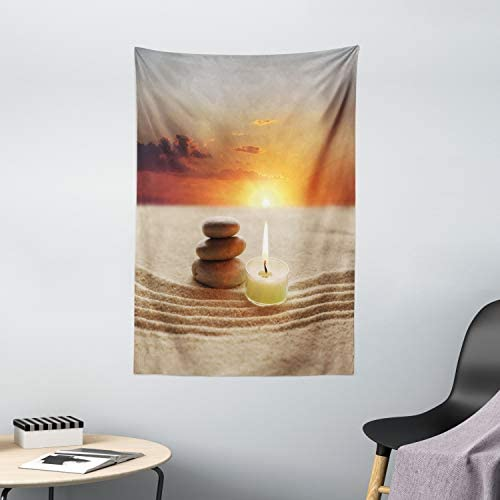 Ambesonne Spa Tapestry, Little Candle with 3 Stones Middle of Sand with Sunset Serene Landscape, Wall Hanging for Bedroom Living Room Dorm Decor, 40 X 60 , White Brown and Orange
