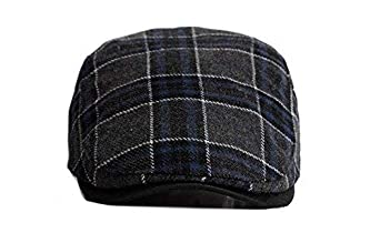 Qunson Mens Plaid Gatsby Ivy Cabbie Newsboy Hat Cap