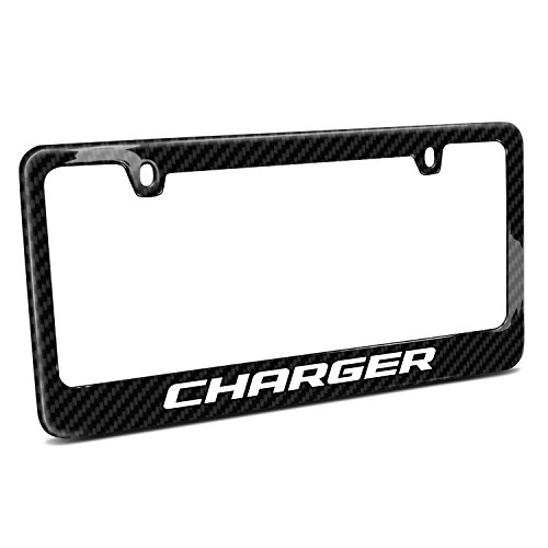 Charger Dodge Fiber Carbon (Dodge Charger Black Real Carbon Fiber License Plate Frame)